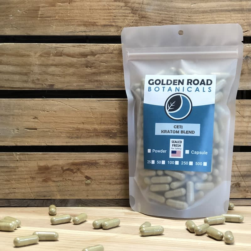 Golden Road Botanicals Ceti Blended Kratom Capsules in a stand up pouch.