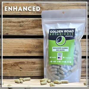 Golden Road Botanicals Enhanced Gamma Red Blended Kratom Capsules in a stand up pouch.