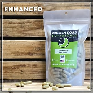 Golden Road Botanicals Red Indo Kratom Capsules in a stand up pouch.